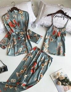 Image 4 - ชุดนอนสตรีชุด 3 ชิ้นแฟชั่นสปาเก็ตตี้สายคล้องซาตินชุดนอนหญิงพิมพ์ดอกไม้แขนยาว Pajama เสื้อผ้า Pijama