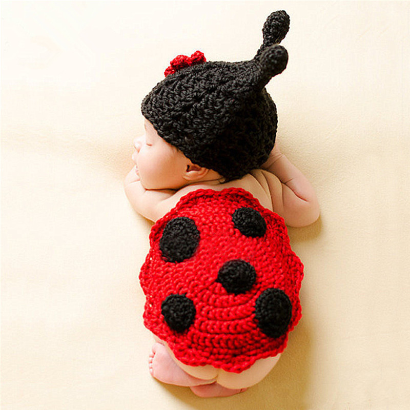 Newborn Photography Props Accessories Cute Baby Photography Costume Handmade Crochet Knitted Ladybird Hat Outfit Baby Photo Prop