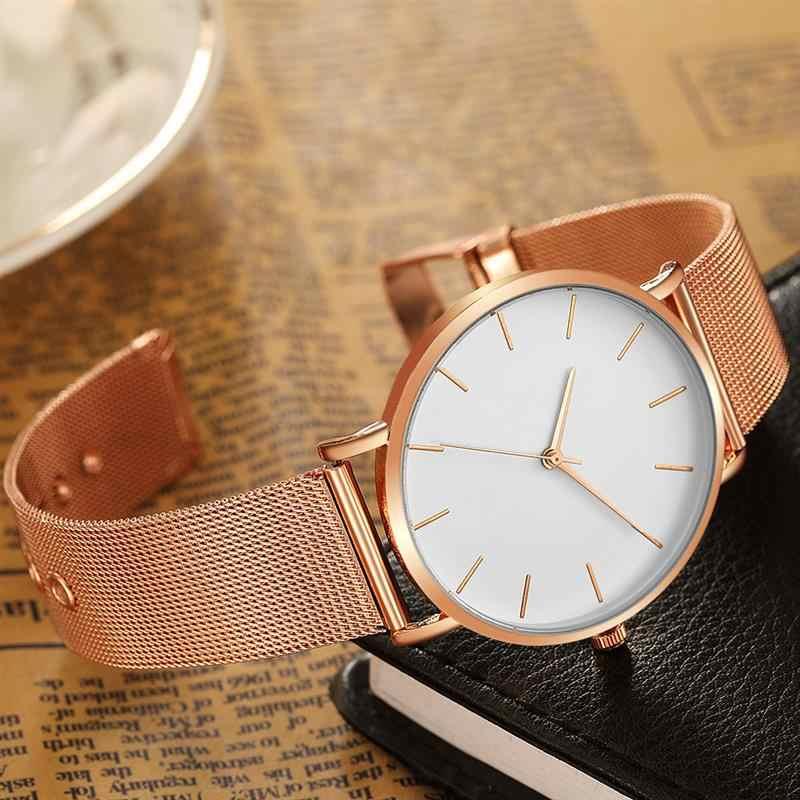 2020 女性の腕時計黒メッシュバンドステンレス鋼クォーツ腕時計ミニマリズムレディース高級シンプルなリロイ mujer