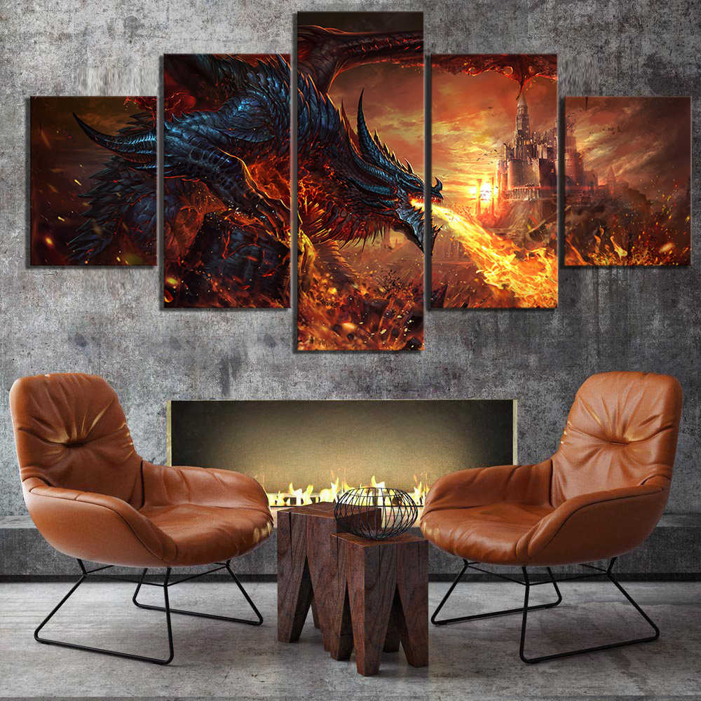 5 Piece Fantasy Art Paintings Fire Dragon Poster World of Warcraft Game Poster Pictures Canvas Paintings Wall Art for Home Decor