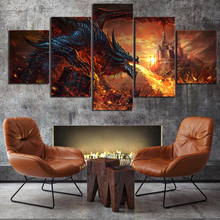 5 Piece Fantasy Art Paintings Fire Dragon Poster World of Warcraft Game Pictures Canvas Wall for Home Decor