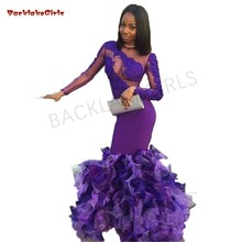 Sexy African Long Sleeve Purple Mermaid Prom Dresses 2019