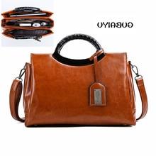 купить Women Oil Wax Leather Designer High Quality Shoulder Bags Ladies luxury Handbags Fashion Luxurious Brand Women Bag Bolsa handbag дешево