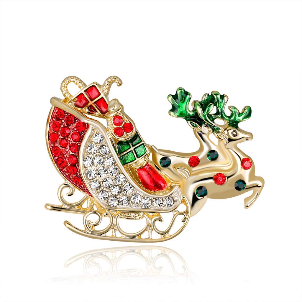 Christmas Carriage Deer Brooch Pins Fashion Winter Jewelry Women Gifts