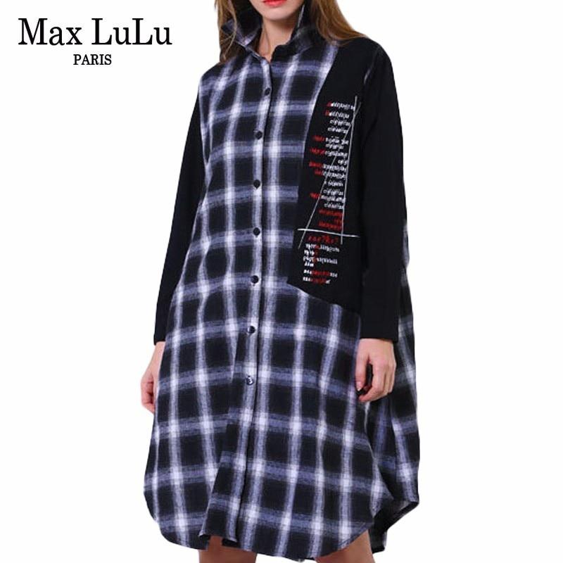 Max LuLu 2019 Spring Fashion England Style Ladies Plaid Long Shirts Womens Casual Cotton Blouses Vintage