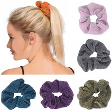 Ladies Elastic Hair Bands Glitter Metallic Scrunchies Ponytail Headwear Holder Shiny Rubber Band Ties
