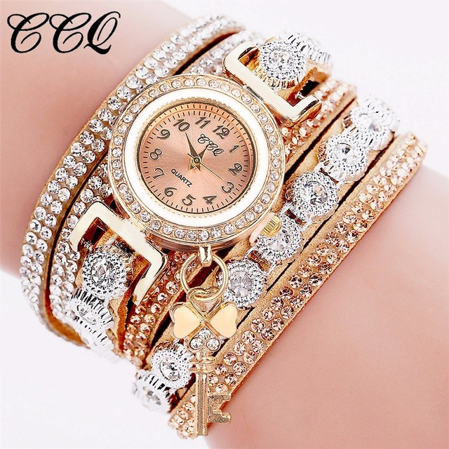 CCQ Brand Fashion Women Rhinestone Watch Casual Luxury Leather Bracelet Watch Gi
