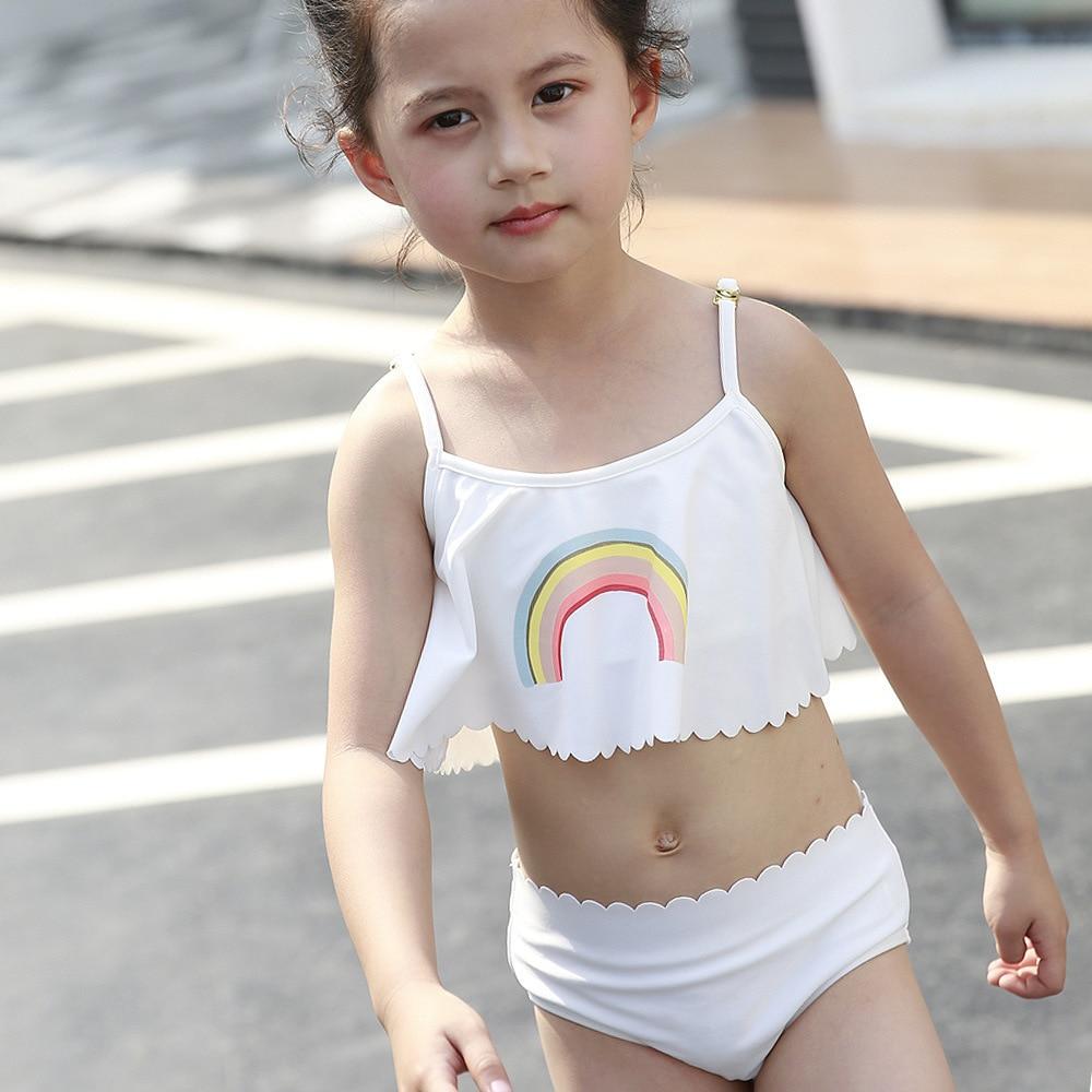3pcs Kids Baby Girls Swim Set Swimwear White Color Rainbow Pattern Swimsuit Bathing Suit Costume Clothing