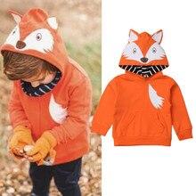 Детские топы с капюшоном для малышей, худи лиса для маленьких мальчиков и девочек, осенний свитер с рисунком, Весенняя верхняя одежда, толстовки с карманами