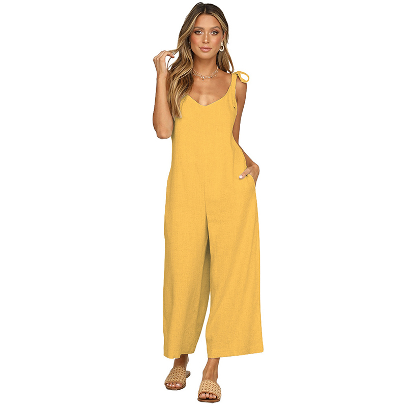 Elegant Women Solid Jumpsuit Sexy Sleeveless Backless Spaghetti Straps Knotted Tie O neck Loose Long Pants Rompers in Jumpsuits from Women 39 s Clothing