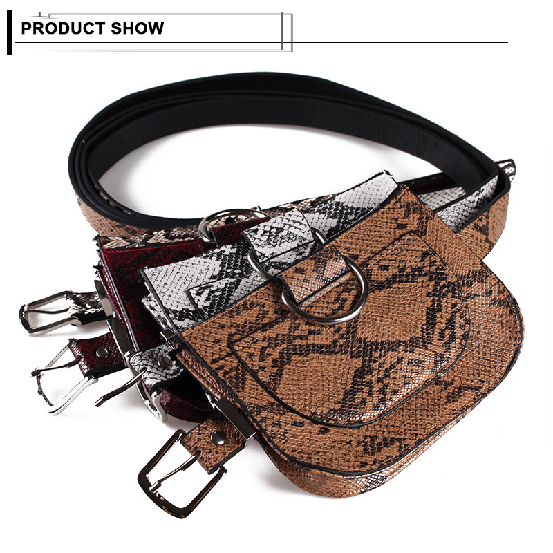Serpentine Women Waist Packs Semicircular Fanny Pack Ladies Leather Waist Bag Female Hip Hop Snake Pattern Crossbody Belt Bags in Waist Packs from Luggage Bags