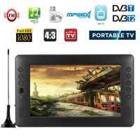 12V 12V 9 pulgadas HD Mini portátil WiFi Digital y analógico TV DVB-T2 DVB-T DTV ATV coche televisión inteligente USB TF TARJETA DE MP4 de Audio y vídeo