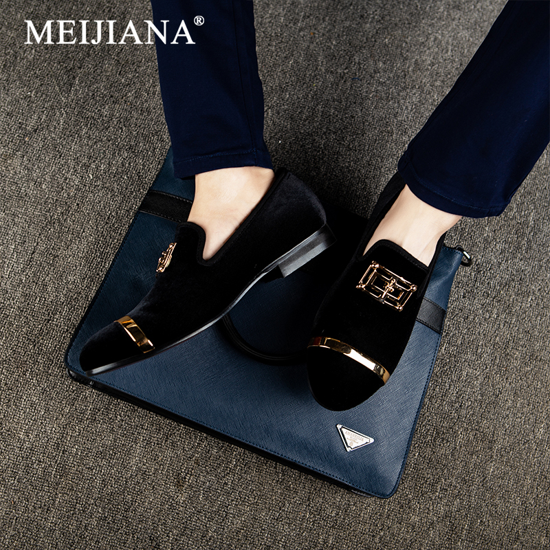 MEIJIANA Wedding Shoes Brand Men Loafers 2019 Leather Men Slip On Shoes High Quality Leather Men