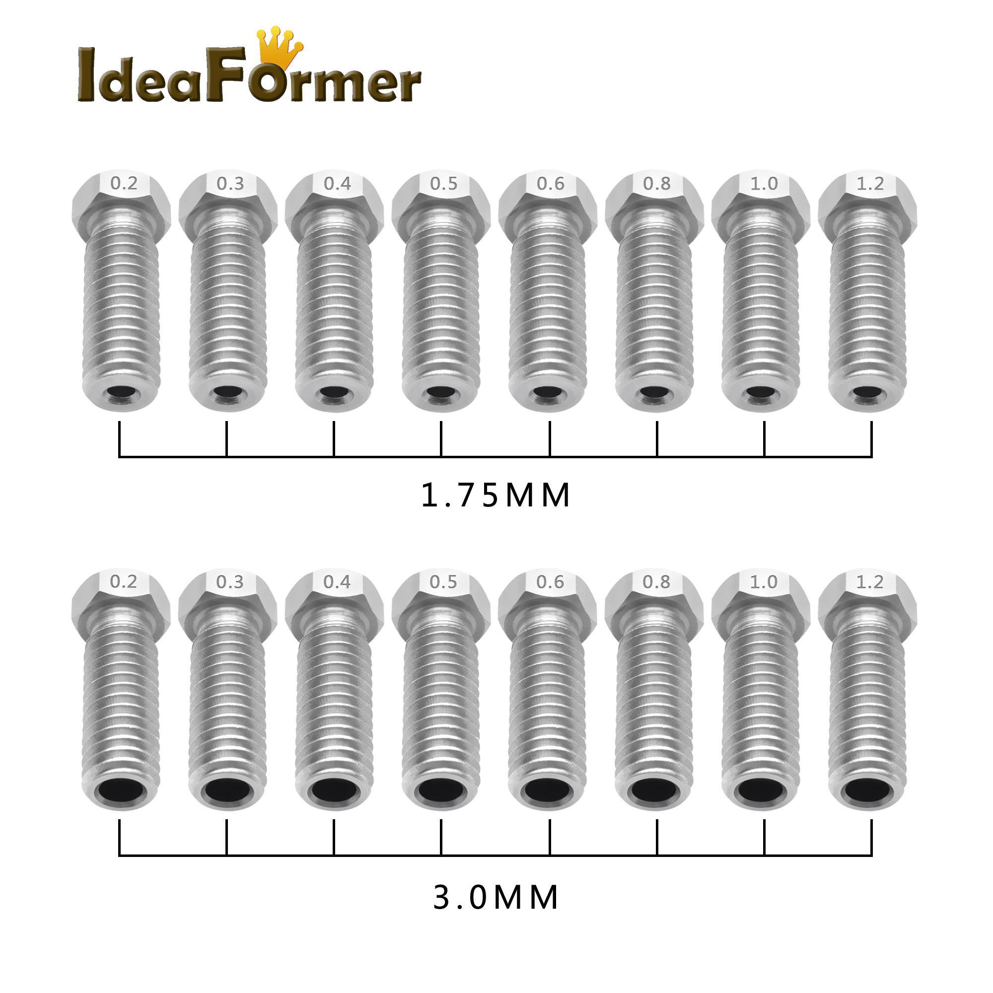 5pcs All-Mental Volcano Stainless Steel Nozzles For 3D Printer 0.2mm-1.2mm For 1.75/3.0mm Extra Lengthen M6 Nozzles Parts