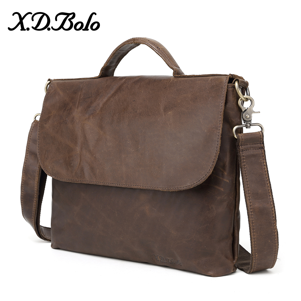 X D BOLO Genuine Leather Men Bags Crazy Horse Leather Male Shoulder Bag Casual Tote Messenger