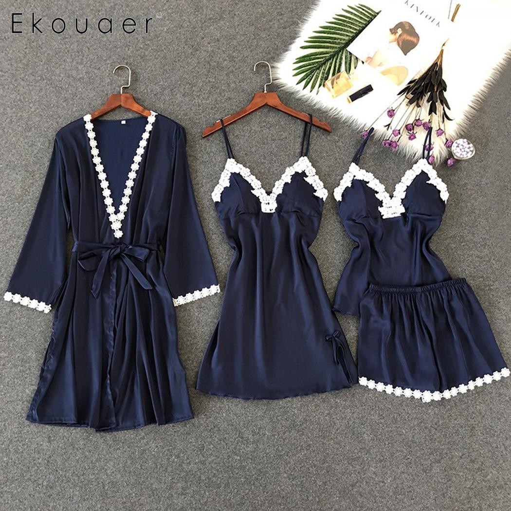 Ekouaer Women 4 Pieces Stain Sexy Sleepwear   Sets   Robe Sleeveless Night Gown Tops Shorts   Pajamas     Set   Soft Summer Homewear Suits