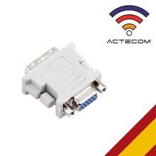 ACTECOM Adaptador Conversor DVI-I 24+1 Pin DualLink Macho VGA A Hembra 15 Pin