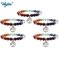 Ayliss Hot Wholesale 7 Chakra Reiki Healing Elastic Bracelet Real Stones Yoga Meditation Mala Bead Stretch Bracelets For Women