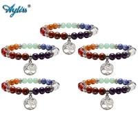 Ayliss Hot Wholesale 7 Chakra Reiki Healing Elastic Bracelet Real Stones Yoga Meditation Mala Bead Stretch Bracelets For Women