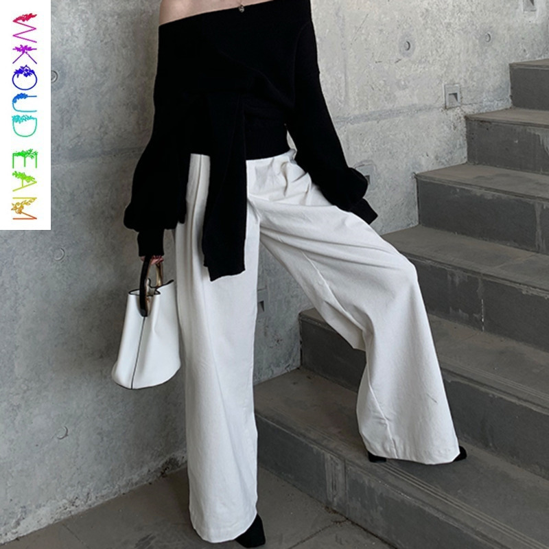 WKOUD EAM 2019 Spring Summer New Women Fashion High Waist Pockets   Wide     Leg     Pants   Casual Trousers Female Solid Color Bottom TB323