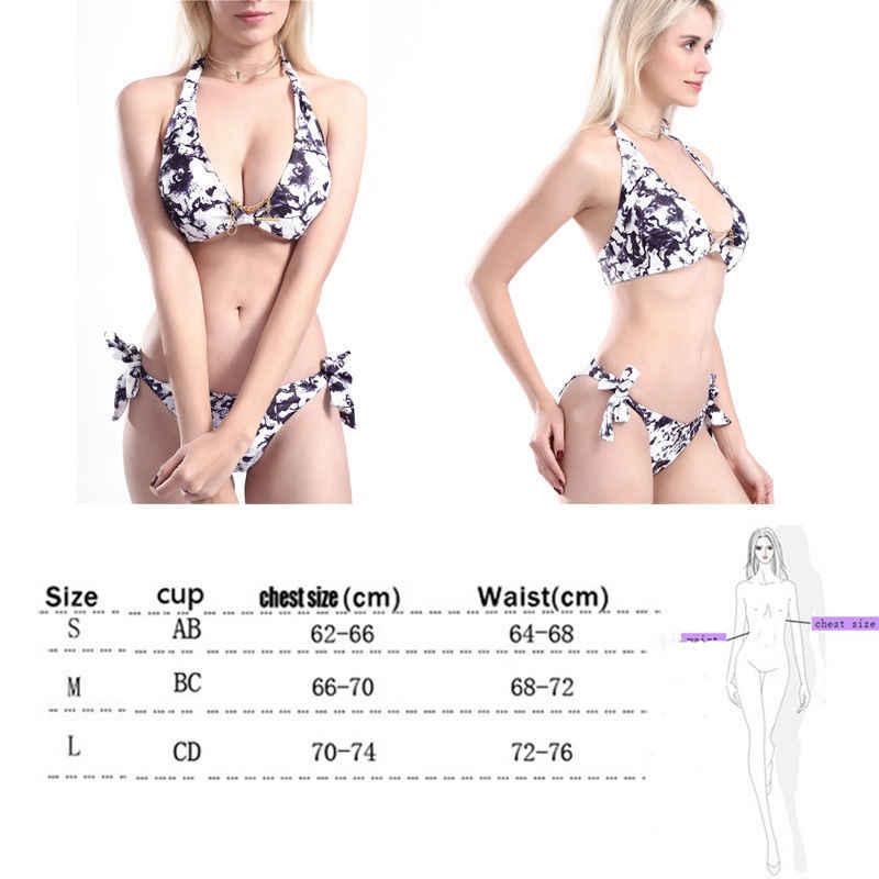 2019 sexy women summer print v-neck Women Bandage Push-up Padded Bikinis Set Swimwear Swimsuit Bathing Suit Lot bikini brazilian