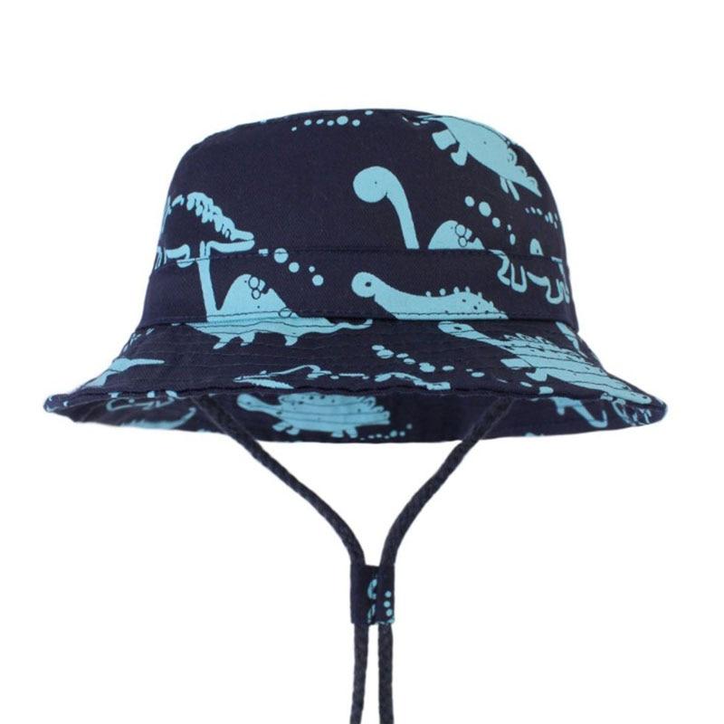 Brand New 2019 Summer Baby Boys Panama Hats Kids Outdoor Hiking Bucket Hats with Cartoon Dinosaur Children 39 s Beach Sun Hats Caps in Hats amp Caps from Mother amp Kids
