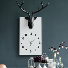 Modern Design Single Face Wall Clock For Home Decor Office Resin Deer Head Craft Wood Dial Silent Hanging Decoration