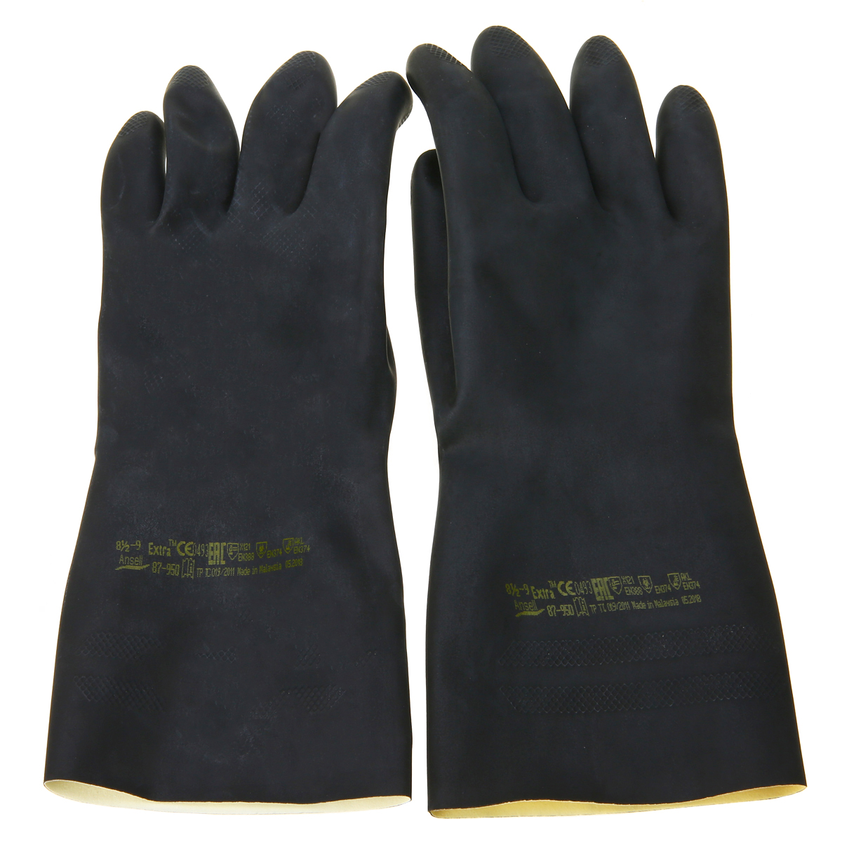 Heavy Duty Natural Rubber Gloves Acid Alkali Resistant Chemical Gauntlet Glove Black For Lab Work Home Supplies