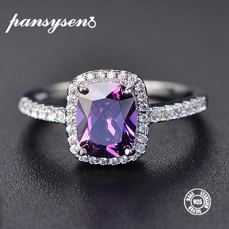 PANSYSEN Charms 7x9MM Purple Natural Amethyst Rings For Women Genuine Silver 925 Jewelry Ring Wholesale Wedding Party Gifts PANSYSEN Charms 7x9MM Purple Natural Amethyst Rings For Women Genuine Silver 925 Jewelry Ring Wholesale Wedding Party Gifts