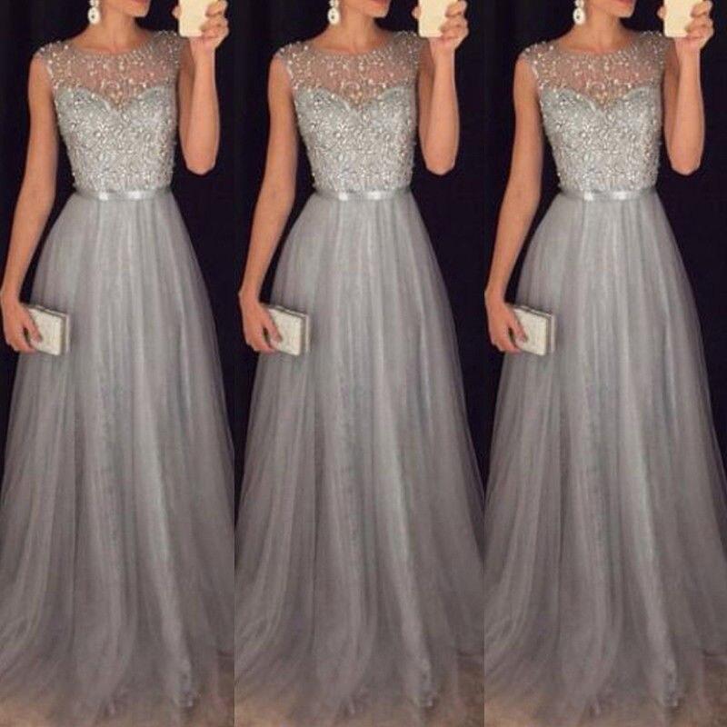 Silver Women Lace Long Dress 2019 Summer Sequin Sleeveless Slim High Waist Maxi Dress Party Evening Formal Prom Gown Maxi Dress