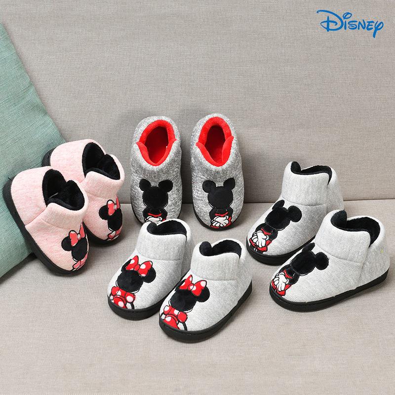 Disney 2019 Mickey Minnie Winter Children Cotton Slipper Shoes Boys/Girls Indoor Slipper Warming Home Toddler Baby Shoes