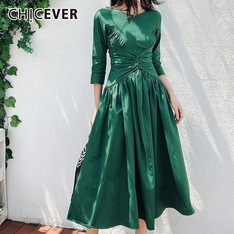 Chicever Robe Nouveau Cou Taille Vintage Robes Vêtements quarts Femme Élégant Trois Automne Nu Green Haute Dress O Femmes Manches Dos IYyvf6mb7g