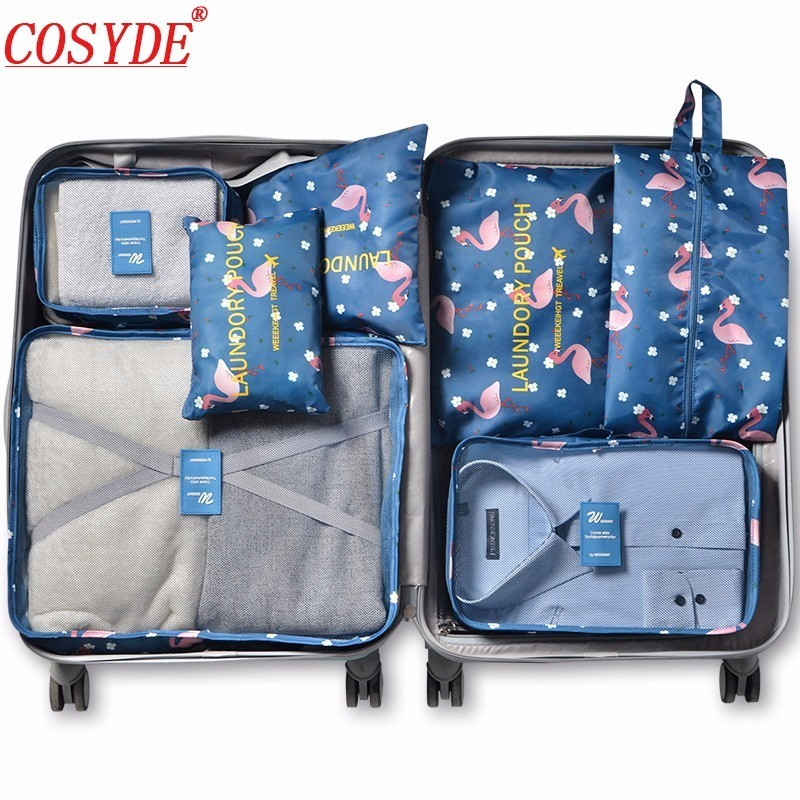 Cosyde 7Pcs/set Travel Organizer Suitcase Clothes Finishing Kit Portable Partition Pouch Storage Bags Home Travel Accessories