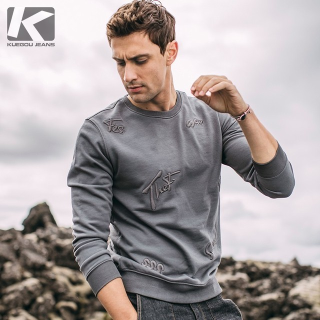 Autumn Men Sweatshirt Cotton Embroidery Letters Black Gray Pullovers For Man Casual Slim Fit 2020 Male Wear Tops Tracksuits 1531