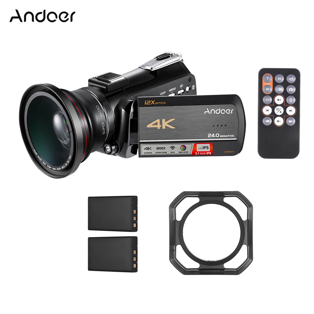 Andoer AC5 4K UHD 24MP Digital Video Camera Camcorder Recorder DV 3 1 In IPS With