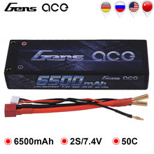 Gens ace Lipo Battery 2S 6500mAh Lipo 7.4V Battery Pack 4.0mm Bullet to Deans 50C Battery for 1/10 1/8 Scale for Traxxas Slash gens ace 4s 6750mah lipo 14 8v battery pack 70c xt90 t plug for traxxas x maxx 1 8 car lipo batteria quad drone boat