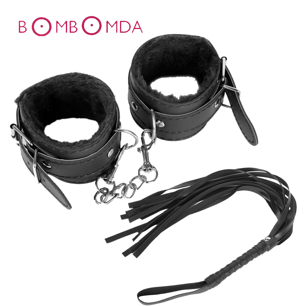 Sexy BDSM Bondage Set Plush Ankle Handcuffs With Whip Rope Erotic Accessories Handcuffs Adult Sex Toys For Woman Couples