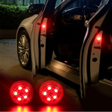2x Car Styling LED Door Opening Warning Lights Accessories for Toyota Camry Corolla RAV4 Land Cruiser Avensis Yaris Prado Reiz цена