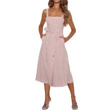 Women Sleeveless Striped Dress Sexy Elegant Strapless Send Sashes Beach Button Belt Vestido Summer GRNSHTS