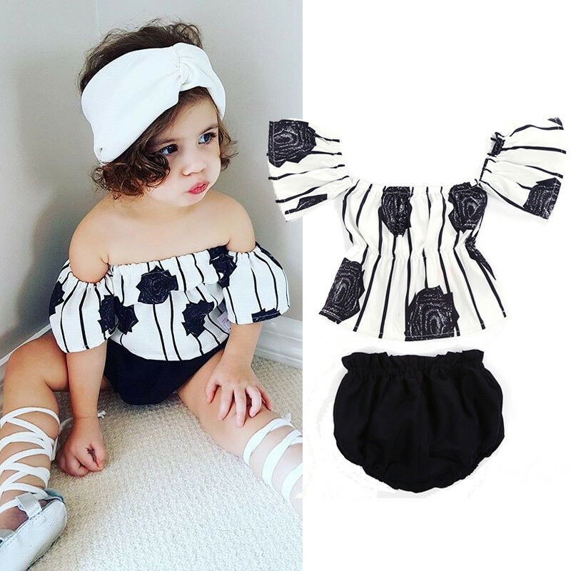 Baby Girls Floral Print Tube Crop Top Off-Shoulder Blouse with Shorts Pants and Headband