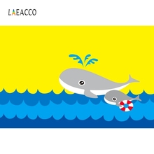 Laeacco Cartoon Yellow Dolphin Backdrop Kid Party Photography Backgrounds Customized Photographic Backdrops For Photo Studio