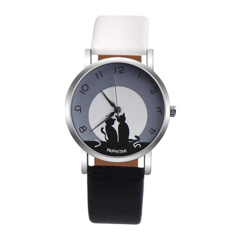 Для мужчин Для женщин прекрасный кот Кварц Аналоговый арабские цифры вечерние Дата парные наручные часы relogios дропшиппинг