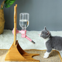 Wood pet water dispenser Automatic Dog cat Water feeder With Frame Adjustable height Stand Feeder Bottle Pet Drinking Fountain
