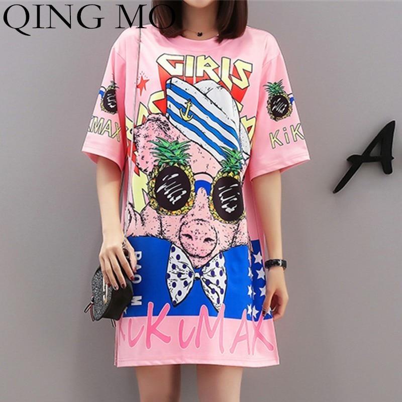 QING MO Cartoon Print Dress Women Glasses Pig T Shirt Summer Short Sleeve Dress Women Pink Mini Dresses Women Casual Tops QF651