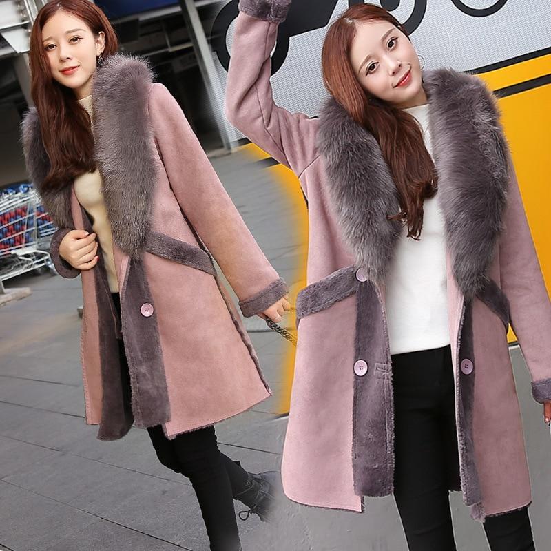 Fourrure Laine Cheveux Pink Tissu Suède Style Mode De Épissage Revers Manteau Moyen Femmes Collier Lourd Nouveau Hiver Long qwtaHH
