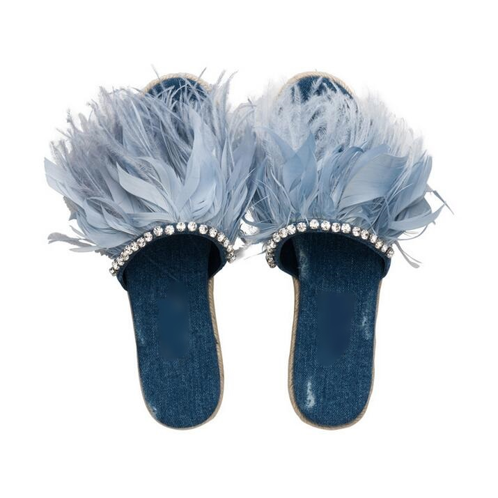 Sexy Blue Feather Embellished Slide Sandal Women Peep Toe Thick Braided Platform Espadrille Slides High Quality Women ShoesSexy Blue Feather Embellished Slide Sandal Women Peep Toe Thick Braided Platform Espadrille Slides High Quality Women Shoes