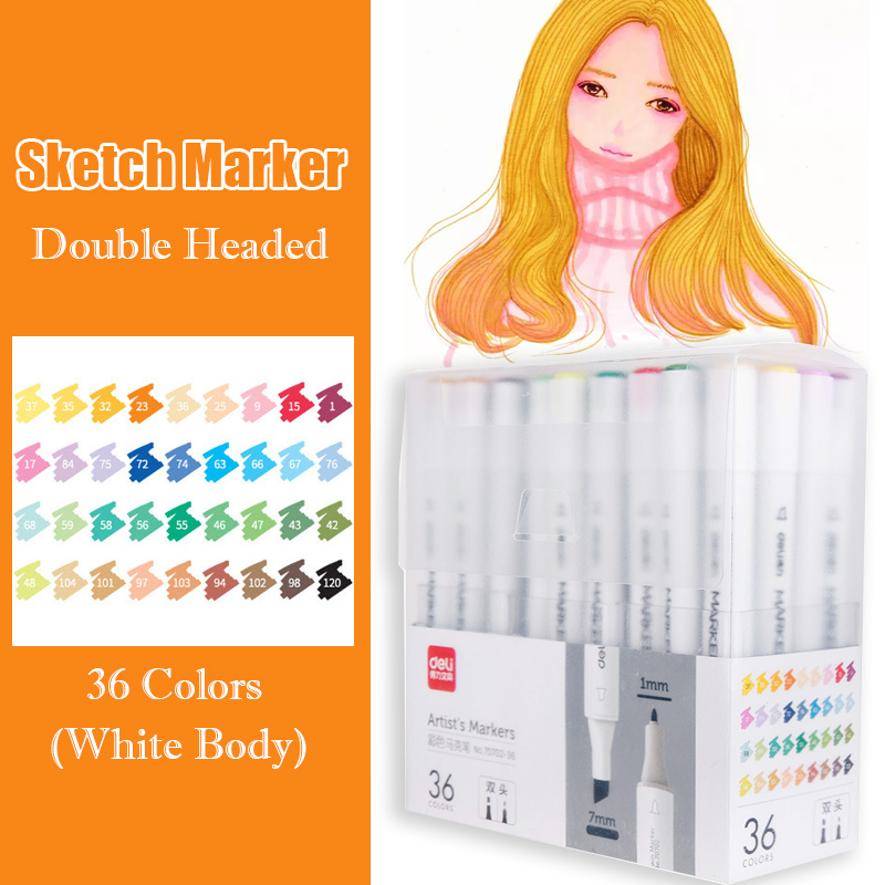 36 Colors Dual Headed Art Markers White Manga Sketching Marker Alcohol Based Brush Pen For Drawing Stationery Art Supplies36 Colors Dual Headed Art Markers White Manga Sketching Marker Alcohol Based Brush Pen For Drawing Stationery Art Supplies