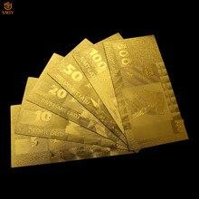 6 pièces/ensemble or pur letton or ensemble de billets 5.10.20.50.100.500 Lats copie papier Original Collection d'argent