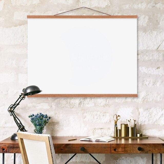 4pcs/set Magnetic Wooden Poster Hanger Photo Frame White Black DIY Picture Canvas Print Hanging Wall Art Home Decor Custom Size