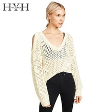 HYH HAOYIHUI  2019 Simple Sexy V-collar Open Shoulder And Easy To Wear Long Sleeve Sweater Fation New Arrival